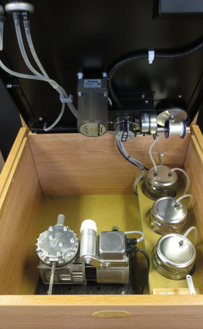 The Keith Monks 'Archivist Duo' Record Cleaner Inside - Medical Grade Vacuum Pump, Platter and Arm Motors and Thread Spool